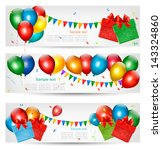 Holiday Banners With Colorful...