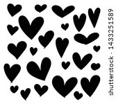 set of doodles hearts. grunge... | Shutterstock .eps vector #1433251589