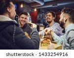 happy friends eat burgers ... | Shutterstock . vector #1433254916