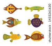 set of tropical unusual... | Shutterstock .eps vector #1433261630