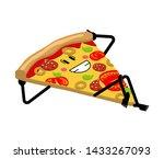 happy slice pizza. cartoon food.... | Shutterstock .eps vector #1433267093