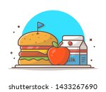 burger icon with milk  flag ... | Shutterstock .eps vector #1433267690