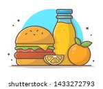 burger icon with orange juice... | Shutterstock .eps vector #1433272793