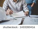 engineer teamwork meeting ... | Shutterstock . vector #1433283416