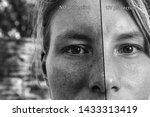 a split screen view showing the ...   Shutterstock . vector #1433313419