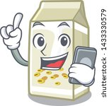 with phone soy milk in a... | Shutterstock .eps vector #1433330579