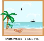 red slippers on the beach | Shutterstock .eps vector #14333446