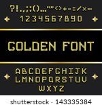 golden alphabet font vector | Shutterstock .eps vector #143335384