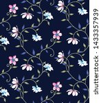 All Over Vector Cute Floral On...