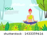 woman doing yoga  meditating... | Shutterstock .eps vector #1433359616