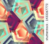 seamless pattern retrowave...   Shutterstock . vector #1433367773