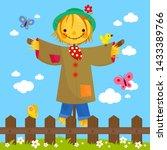 scarecrow cartoon in a green... | Shutterstock . vector #1433389766
