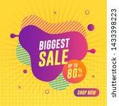 biggest sale banner on yellow... | Shutterstock .eps vector #1433398223