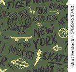 tiger  skate pattern vector... | Shutterstock .eps vector #1433421743