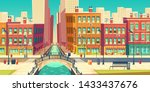 Stock vector old city district in modern metropolis cartoon vector outdoor cafeteria on embankment grocery 1433437676