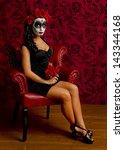 Sexy Sugar Skull Woman Sitting...