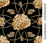 Gold  metal shine chains  with hydrangea flowers seamless . Fashion illustration. Seamless pattern abstract design. Filigree necklce and flowers on black background.