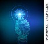 robotic hand touching digital... | Shutterstock .eps vector #1433462306