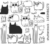 Stock vector cute cartoon cat vector icons seamless pattern and background for textile fabric web kids and 1433486273