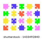 parts of colored puzzles on...