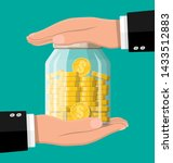 glass money jar full of gold... | Shutterstock .eps vector #1433512883