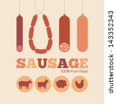 retro poster. various sausages... | Shutterstock .eps vector #143352343