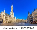Small photo of Grand Place (Grote Markt) with Town Hall (Hotel de Ville) and Maison du Roi (King's House or Breadhouse) in Brussels, Belgium. Grand Place is tourist destination in Brussels. Cityscape of Brussels.