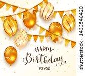 black lettering happy birthday... | Shutterstock . vector #1433546420