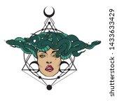 gorgon medusa head. vector... | Shutterstock .eps vector #1433633429