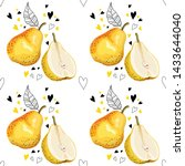 seamless pattern with pears.... | Shutterstock .eps vector #1433644040