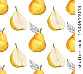 seamless pattern with pears.... | Shutterstock .eps vector #1433644043