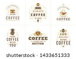 coffee quotes vintage... | Shutterstock .eps vector #1433651333