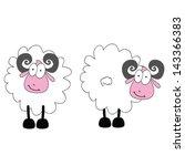 funny ram animal with big eye... | Shutterstock .eps vector #143366383