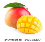 Mango Fruit Isolated On White...