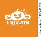happy halloween text banner or... | Shutterstock .eps vector #1433692079