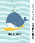 Cute Whale On A Surf With A...