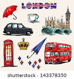 london symbols. set of drawings. | Shutterstock .eps vector #143378350