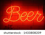 Neon Beer Sign. Orange Or Red...