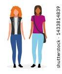 young girls flat vector... | Shutterstock .eps vector #1433814839