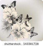 background with flowers pansies ... | Shutterstock .eps vector #143381728
