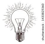 vintage light bulb in engraving ... | Shutterstock . vector #1433825360