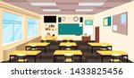 cartoon empty classroom  high... | Shutterstock . vector #1433825456