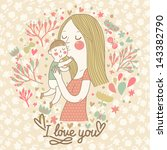cute retro vector card with... | Shutterstock .eps vector #143382790