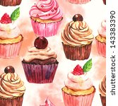 watercolor seamless cupcake... | Shutterstock . vector #143383390