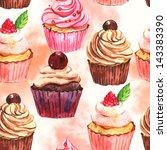 watercolor seamless cupcake... | Shutterstock . vector #143383390