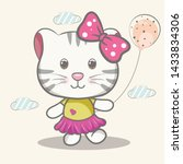 Stock vector child illustration with a cute cat with balloons vector 1433834306