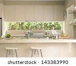 bar stools by modern kitchen... | Shutterstock . vector #143383990
