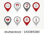 mapping pins icons medical | Shutterstock .eps vector #143385280