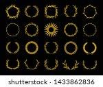 gold wreaths of ears wheat.... | Shutterstock .eps vector #1433862836