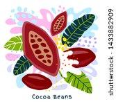 fresh cocoa beans juice splash... | Shutterstock .eps vector #1433882909